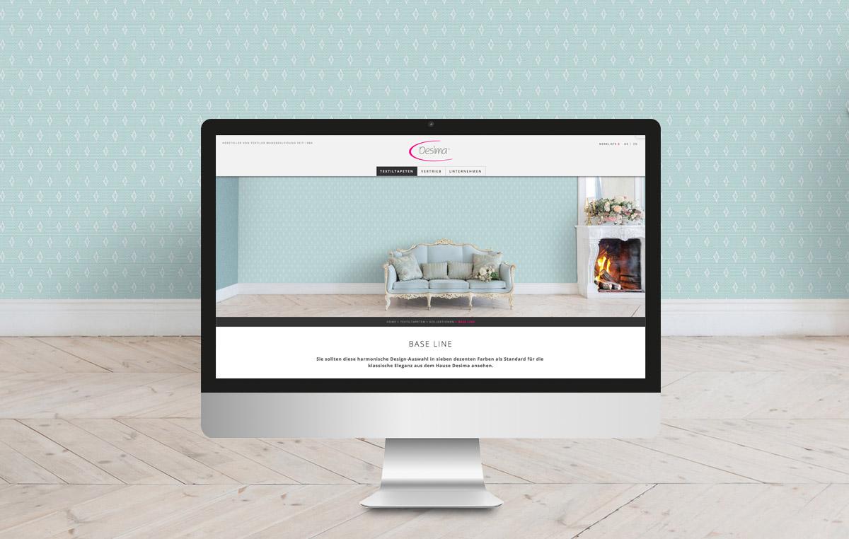 DESIMA / Website / Textiltapeten / Kollektionsseite