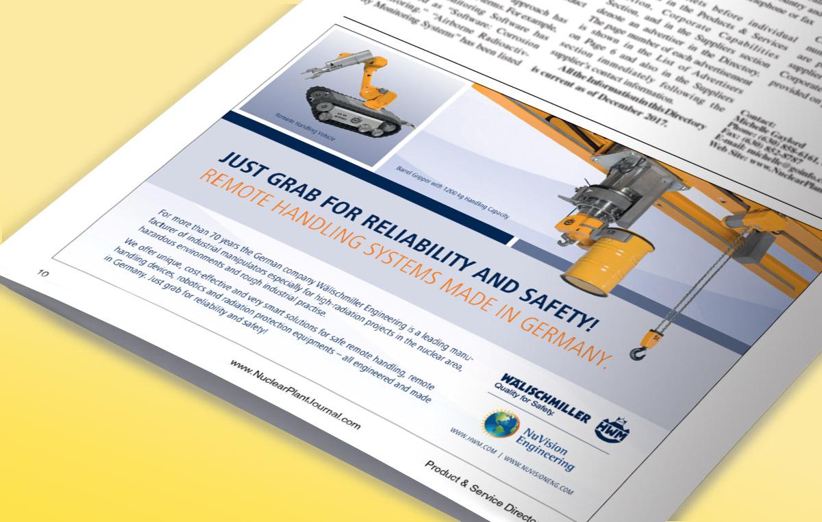 Wälischmiller / Kooperations-Anzeige mit NuVision / Veröffentlicht in amerikanischer Fachzeitschrift