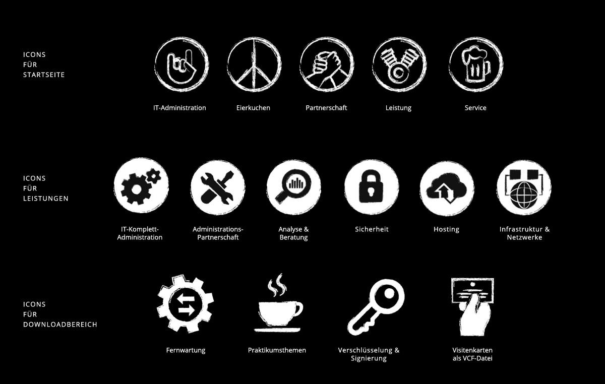 Die Spezialisten / Website / Piktogramme für verschiedene Bereiche